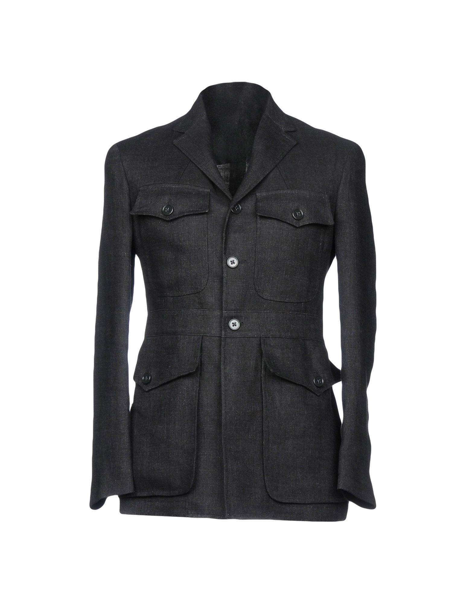 《セール開催中》RALPH LAUREN PURPLE LABEL メンズ テーラードジャケット ブラック 44 麻 100% / レーヨン