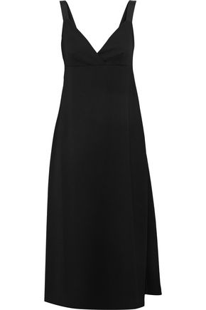 IRIS & INK Satin-trimmed crepe midi dress
