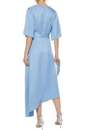 IRIS & INK Noel asymmetric satin-twill midi wrap dress