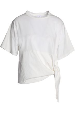 Iris & Ink Woman Carol Pussy-bow Cotton-poplin Top White Size 12 IRIS & INK