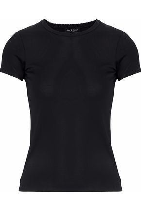 RAG & BONE Silk satin-trimmed cotton-jersey top