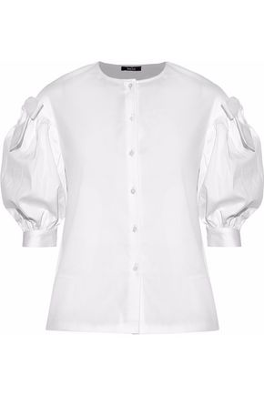 RAOUL Bow-embellished cotton-blend poplin shirt