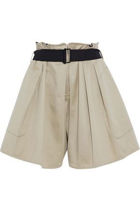 RAG & BONE Layered pleated cotton-blend twill shorts