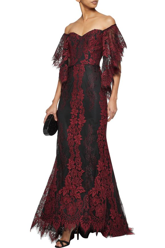 Off-the-shoulder draped corded lace gown | BADGLEY MISCHKA | Sale up to 70%  off | THE OUTNET