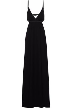 T by ALEXANDER WANG Satin-trimmed cutout crepe gown