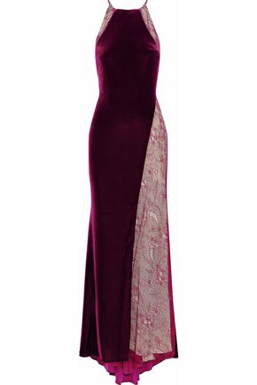 BADGLEY MISCHKA Lace-paneled fluted velvet gown