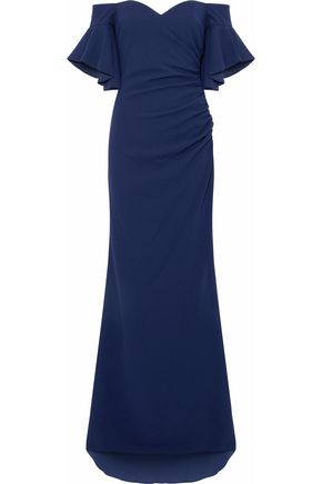 BADGLEY MISCHKA Off-the-shoulder ruched crepe gown