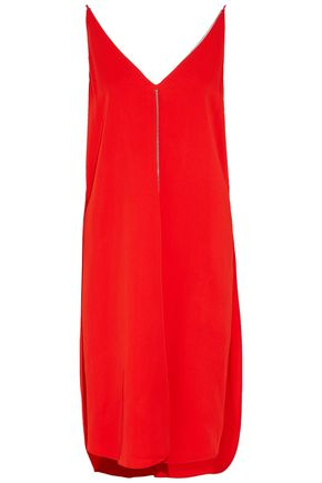 T by ALEXANDER WANG Chain-embellished crepe de chine dress