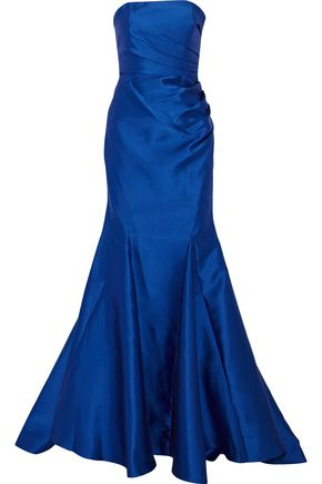 BADGLEY MISCHKA Strapless ruched satin-twill gown