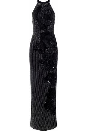 BADGLEY MISCHKA Beaded sequinned tulle gown