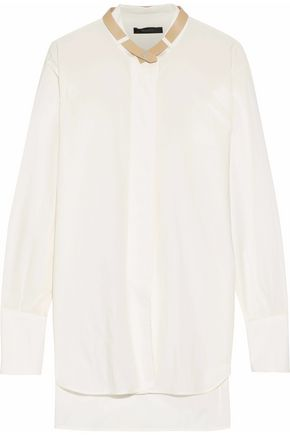 BELSTAFF Leather-trimmed cotton-poplin shirt