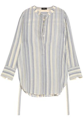 THEORY Striped cotton and silk-blend tunic