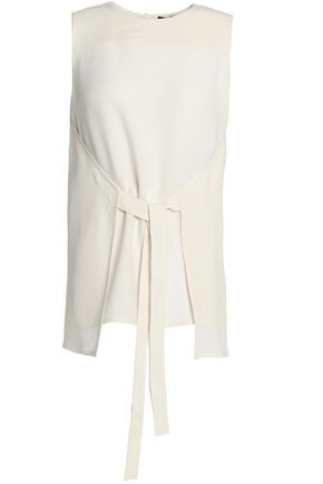 THEORY Tie-front crepe top