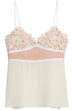 THEORY Crochet-paneled guipure lace and crepe camisole