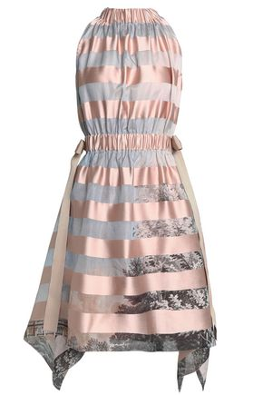 FENDI Paneled satin and printed organza dress
