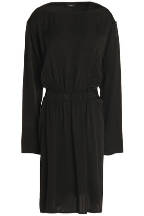 THEORY Grosgrain-trimmed gathered silk dress
