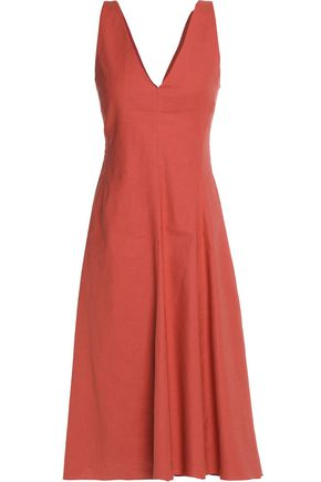 THEORY Asymmetric pleated linen-blend dress