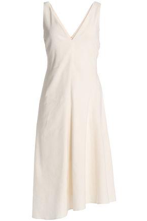 THEORY Asymmetric pleated linen-blend dress