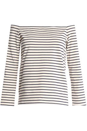 38124ba330 Off-the-shoulder striped cotton top | THEORY | Sale up to 70% off ...