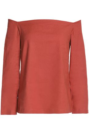THEORY Off-the-shoulder linen-blend top