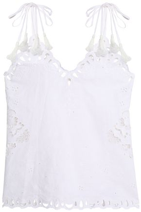 THEORY Tasseled broderie anglaise linen and cotton-blend top