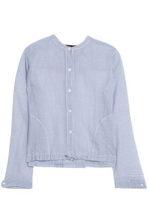 THEORY Gingham cotton-gauze top