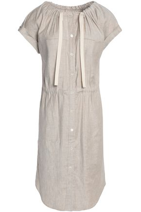THEORY Gathered linen-blend dress