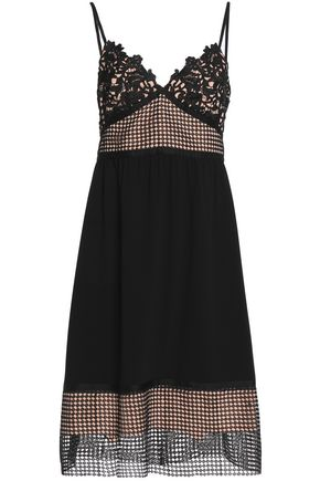 THEORY Paneled guipure lace, crochet, and crepe dress