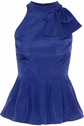 RAOUL Pussy-bow pleated crepe de chine peplum top