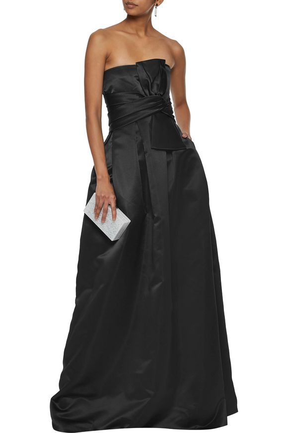 Strapless pleated bow-embellished duchesse-satin gown | RAOUL | Sale up to  70% off | THE OUTNET