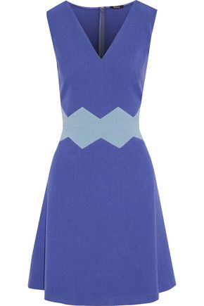 RAOUL Flared two-tone cady dress