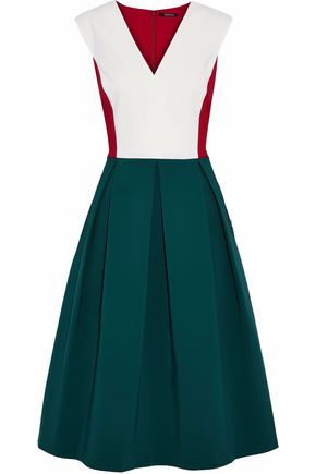 RAOUL Color-block pleated cotton-blend dress