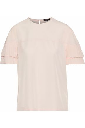 RAOUL Pleated crepe de chine top