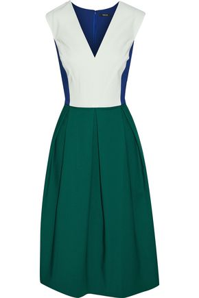 RAOUL Pleated color-block stretch-cotton dress