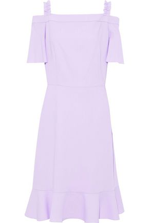 RAOUL Cold-shoulder ruffle-trimmed crepe dress