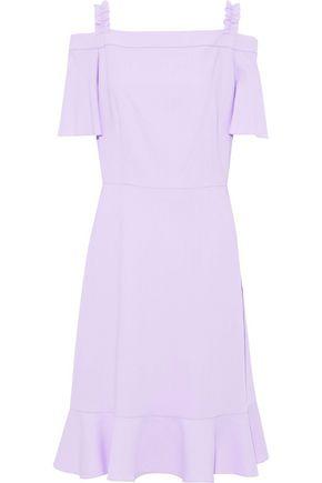 RAOUL Cold-shoulder fluted crepe dress
