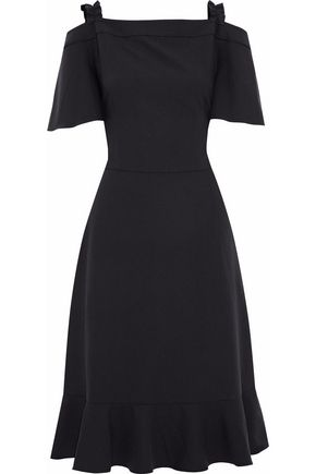 RAOUL Cold-shoulder fluted crepe dress