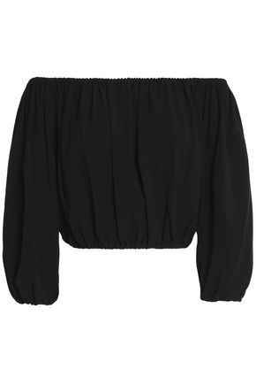 THEORY Off-the-shoulder cropped crepe top