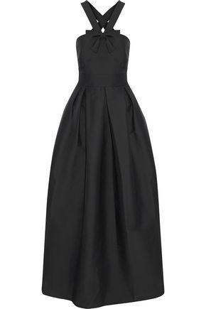 RAOUL Bow-detailed satin-twill gown