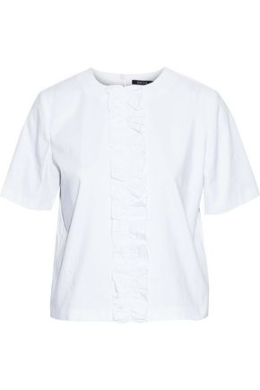 RAOUL Ruffle-trimmed cotton-blend poplin top