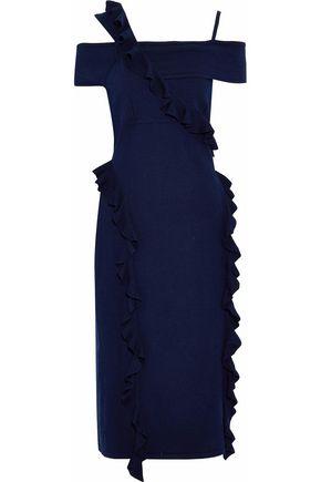 JASON WU Cold-shoulder ruffle-trimmed wool-blend midi dress