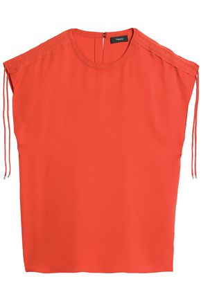 THEORY Ruched silk-satin top