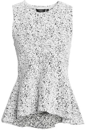 THEORY Jacquard peplum top