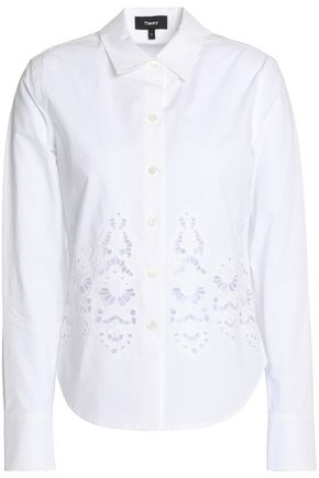 THEORY Broderie anglais cotton-poplin shirt