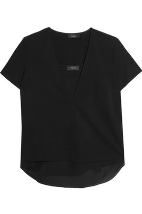 THEORY Layered crepe de chine top