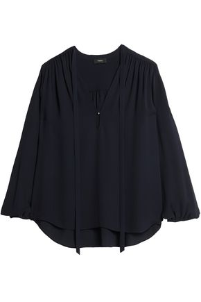 THEORY Gathered silk top