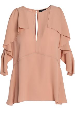 THEORY Draped and ruffled silk-twill top