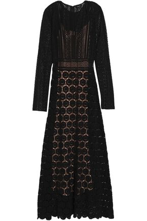 THEORY Paneled cotton-crocheted lace gown