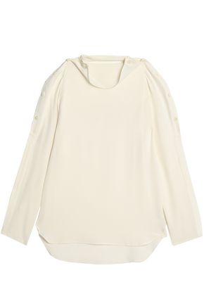 THEORY Button-detailed draped silk blouse