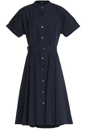 THEORY Belted cotton-poplin shirt dress